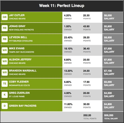 Here is the best fanduel lineup from week 11 which generated a total